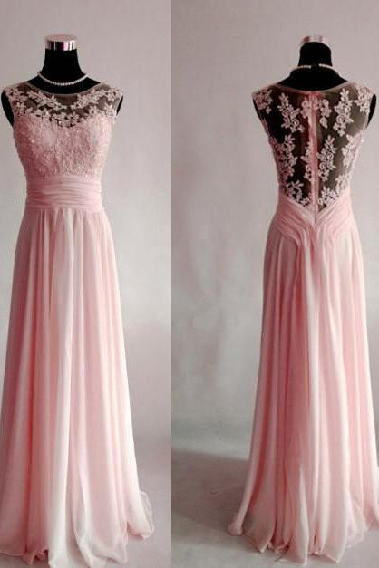 Light Pink Chiffon and Lace Bridesmaid Dresses, Elegant Prom Dresses 2018, Evening Gowns
