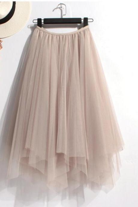 Elasticised High-Waisted Tulle High Low Skirt