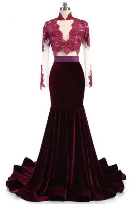 Charming Long Sleeves Mermaid Lace and Velvet Prom Gowns, Sexy Evening Dresses, Formal Gowns