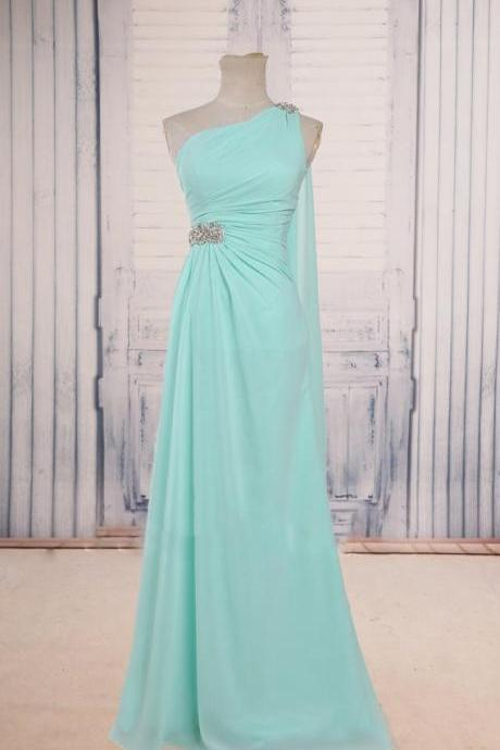 Mint Green One Shoulder Long Party Dress with Embellished Waistline, Wedding Party Dresses, Bridesmaid Dresses