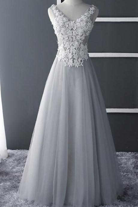 Grey Tulle Pretty V Neckline Prom Dress, Lace Applique Long Prom Dresses, Elegant A Line Tulle Evening Dresses