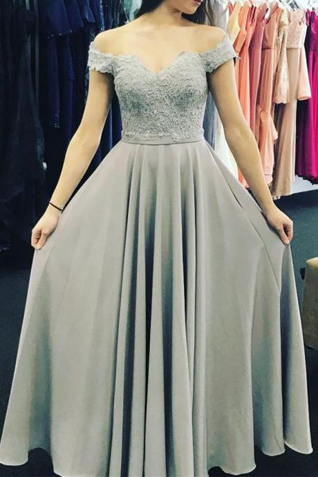 Grey Chiffon Applique Off Shoulder Prom Dresses 2018, Prom Dresses New Style, Party Dresses