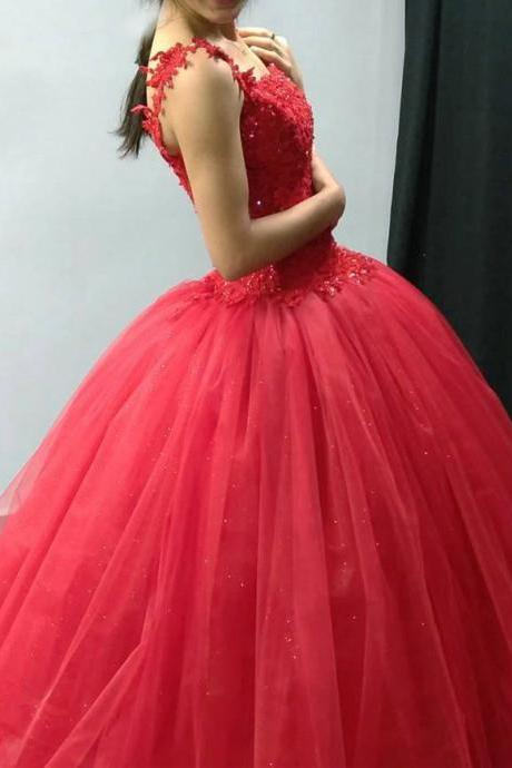 Watermelon Red Tulle Quinceanera Dresses, Charming Formal Gowns, Sweet 16 Red Party Dresses
