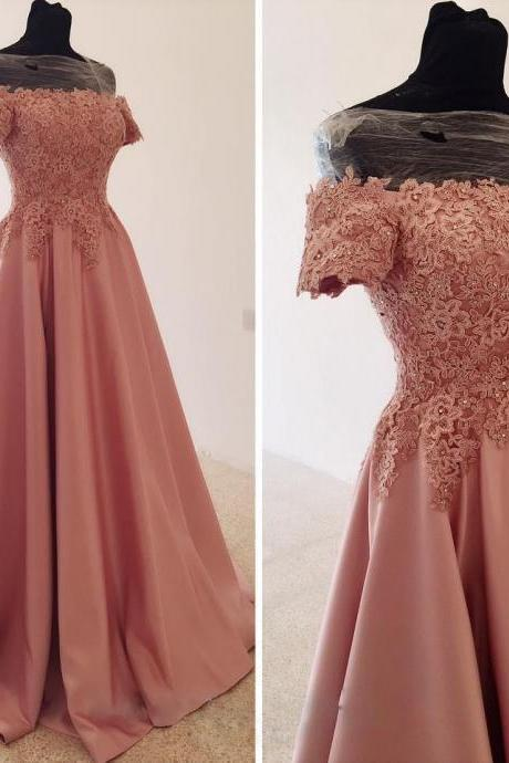 Pink Satin Long Off Shoulder Applique Prom Dresses, Prom Dresses 2018, Formal Gowns