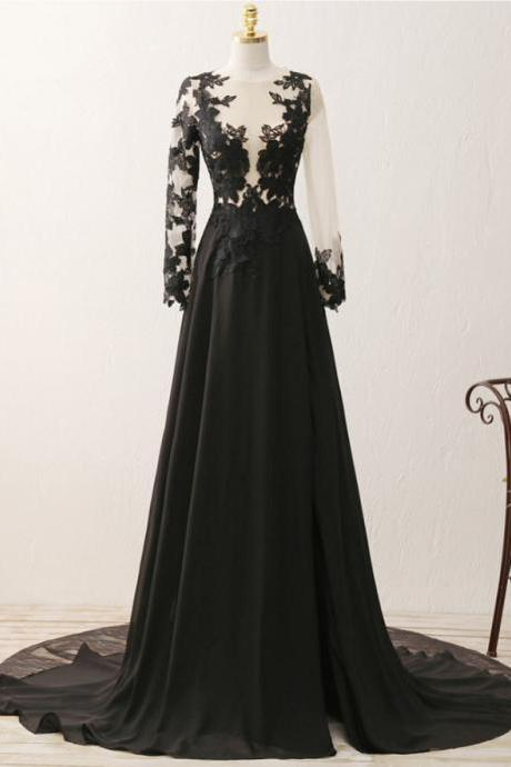 Black Long Sleeves Slit Long Train Prom Dresses, Formal Dresses, Black Party Dresses 2018