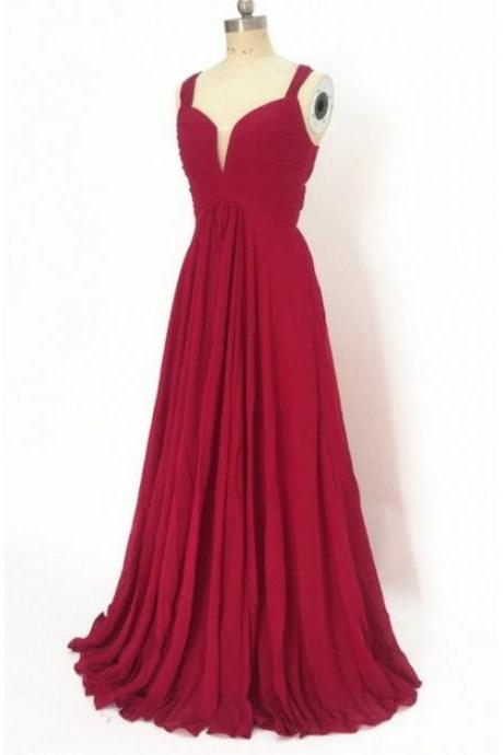 Wine Red Simple Bridesmaid Dresses, Chiffon Floor Length Prom Dresses, Wedding Party Dresses