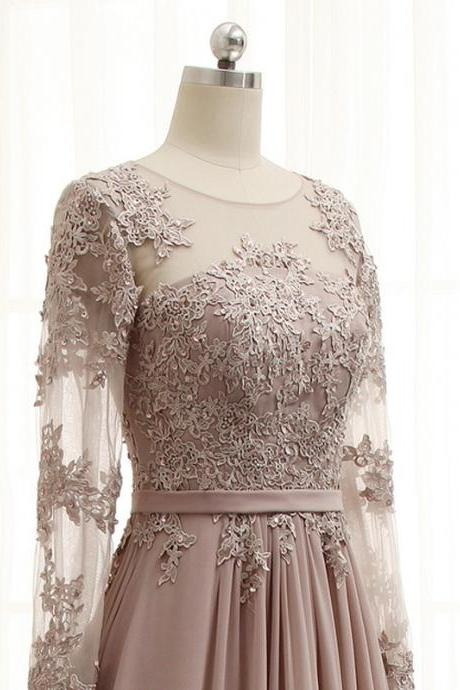 Lace Long Sleeves Chiffon A-line Prom Dresses 2018, Party Dresses 2018, Formal Dresses