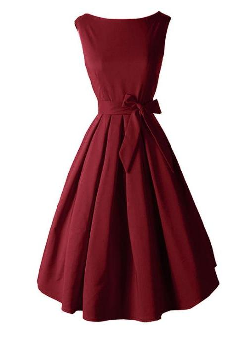 Bateau Neckline Pleated Midi Dress with Ribbon - Black, Burgundy