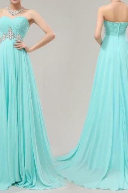 Chiffon Sweetheart Long Mint Blue Prom Dresses 2018, Elegant Party Gowns, Formal Dresses