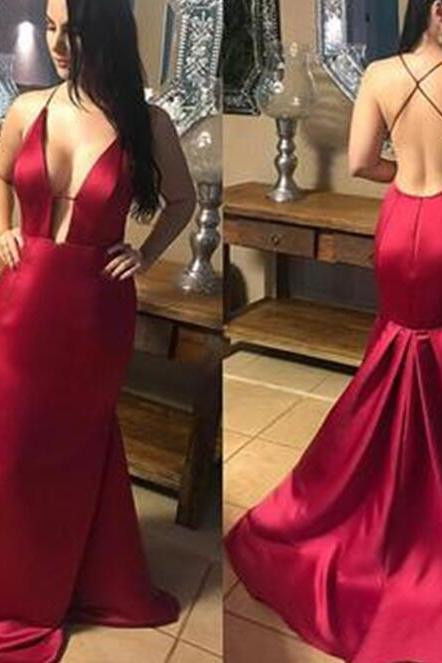 Red Sexy Satin V-neckline Party Gown, Red Formal Dresses, Straps Evening Dresses