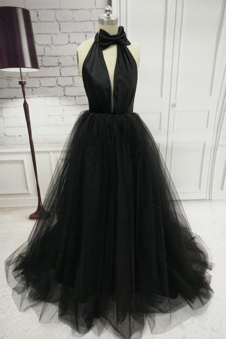 Black Tulle Party Dress with Halter Neckline, Sexy Formal Gowns, Black Gowns