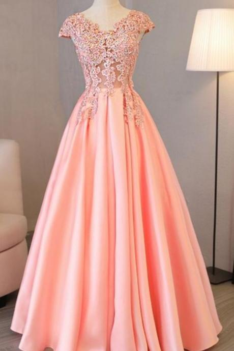 Pink Satin Long Party Dresses, Formal Dress 2018, Junior Party Dresses