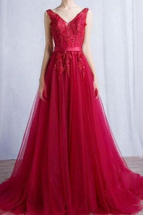 Red Tulle Formal Dresses, A-line Party Dresses, Evening Gowns 2018