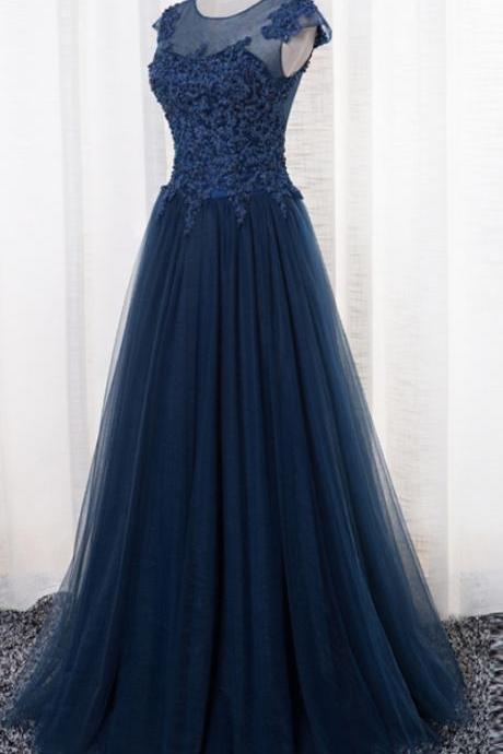 Navy Blue Tulle Long Prom Gowns, Blue Prom Dresses, Formal Dresses