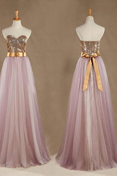 Gold Sequins and Pink Tulle Chiffon Long Bridesmaid Dresses, A-line Formal Dress with Bow, Party Dresses