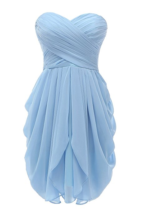 Short Bridesmaid Dresses,Strapless Chiffon Short Formal Party Bridesmaid Dresses, Blue Party Dresses