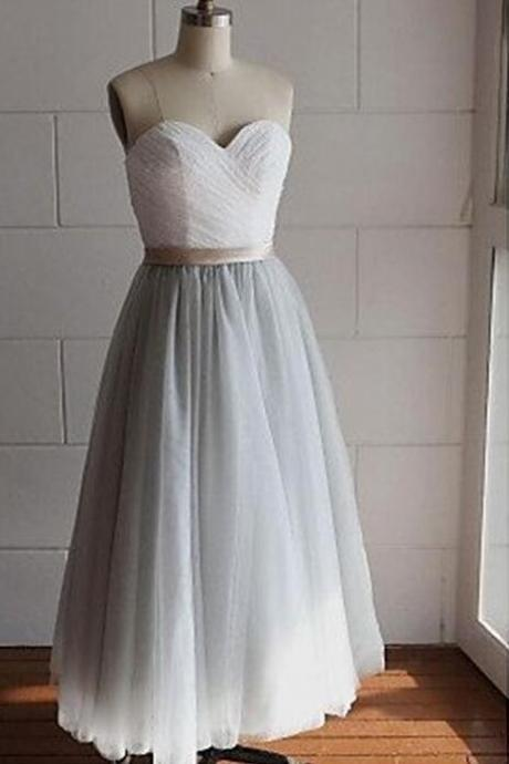 Grey Vintage Tulle Bridesmaid Dresses, Grey Wedding Party Dresses, Formal Dress 2018