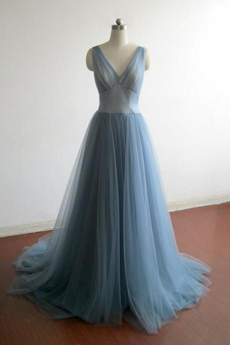Elegant V--neckline Tulle Formal Dresses, Charming Prom Dress 2018, Junior Party Dresses