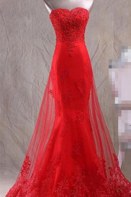 Red Satin Mermaid Wedding Party Gown with Tulle Skirt, Red Floor Length Formal Dress, Prom Dress 2018