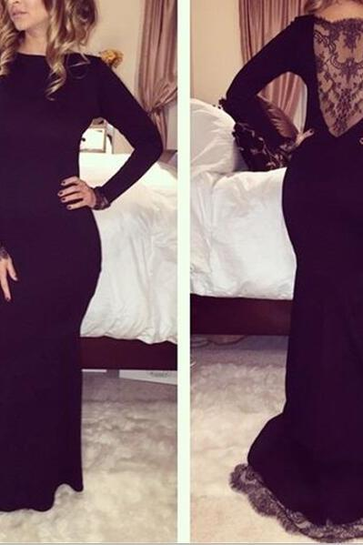 Black Long Sleeves Elegant Evening Dresses, Black Prom Dresses, Spandex Gown with Applique