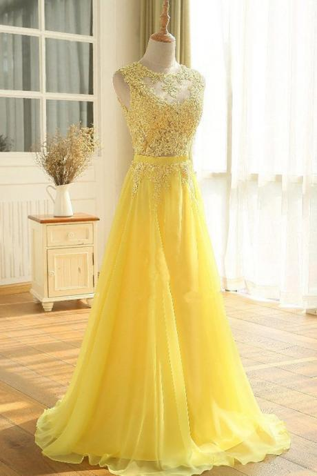 Brilliant Yellow Applique and Chiffon Floor Length Prom Dresses, Yellow Formal Gowns, Yellow Party Dress