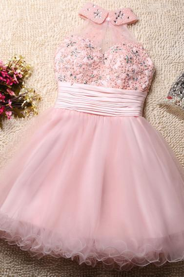 Lovely Pink Tulle Homecoming Dresses, Beaded and Pearl Short Prom Dresses, Cute Formal Dresses