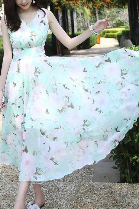 Lovely Mint Floral Maxi Women Dresses, Lovely Women Dresses, Chiffon Dresses 2018