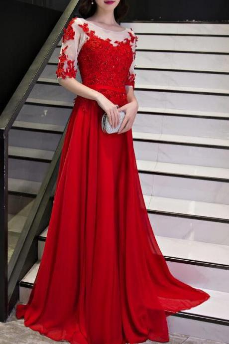 Beautiful Red Chiffon Short Sleeves Prom Dress 2018, Long Formal Gowns 2018, Red Party Dresses