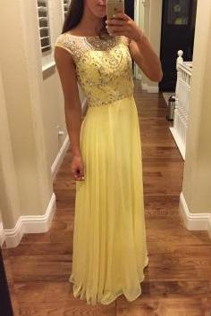 Yellow Beaded A-line Fashionable Formal Dresses, Long Chiffon Prom Dresses, Party Gowns