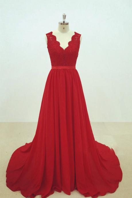 Red Chiffon Party Dress with Applique, Chiffon Formal Gowns, Red Party Dresses