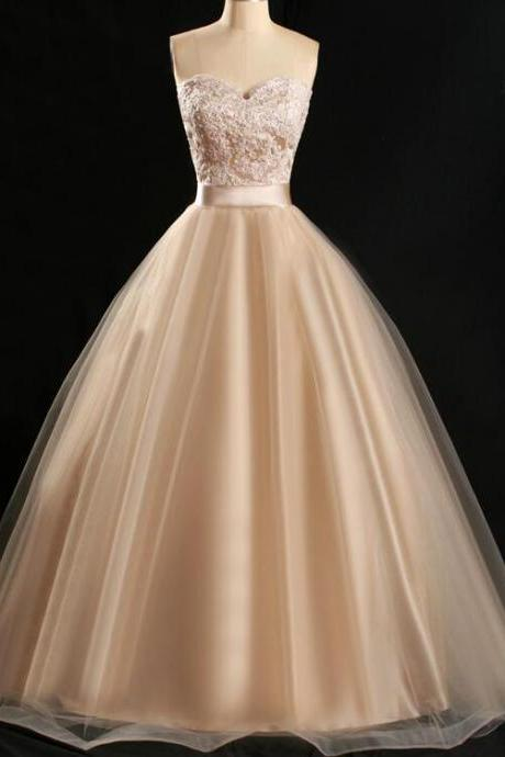 Elegant Tulle and Lace Ball Gown, Sweetheart Party Dresses, Champagne Long Prom Dress