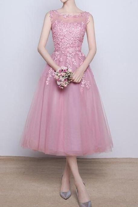 Pink Tea Length Party Dresses, Pink Formal Dresses, Bridesmaid Dresses