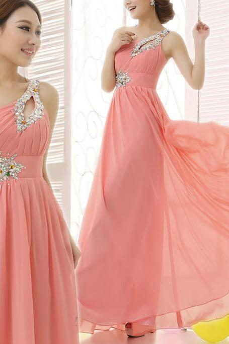 One Shoulder Pink Chiffon Party Dresses, Beaded Party Dress, Chiffon Party Dresses