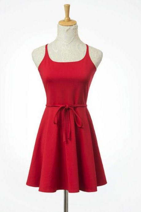 Lovely Red Women Short Dresses, Cute Short Dresses, Cross Back Teen Dresses