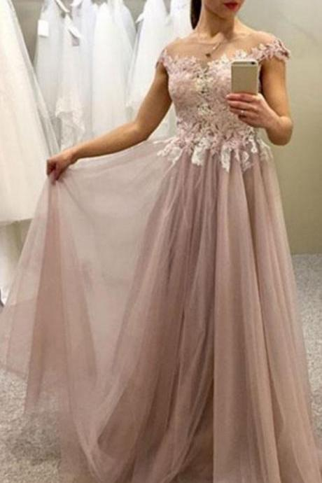 Pink Tulle Gown, Handmade Pretty Off Shoulder Formal Dress 2018, Lovely Formal Dress