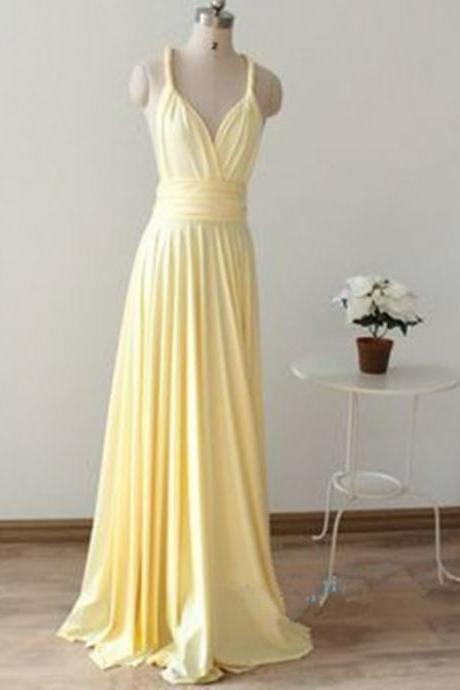 Sexy Light Yellow Bridesmaid Dresses, Simple Bridesmaid Dresses, Yellow Long Bridesmaid Dress