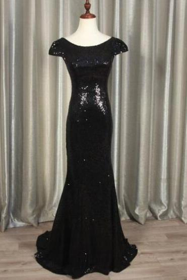 Black Sequin Cap Sleeve Floor Length V Open Back Bridesmaid Dress