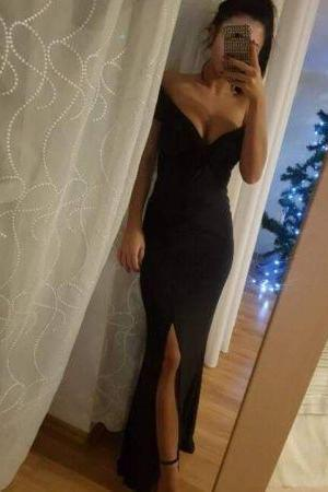 Black Off-The-Shoulder Plunge V Floor Length Trumpet Formal Dress Featuring Slit, Prom Dress