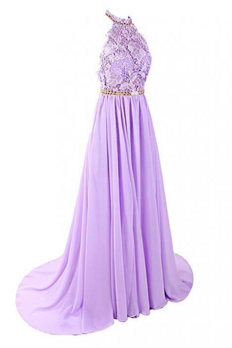 Lavender Chiffon and Lace Long Beaded Party Dress, New Style Prom Dress 2018, Beaded Gown