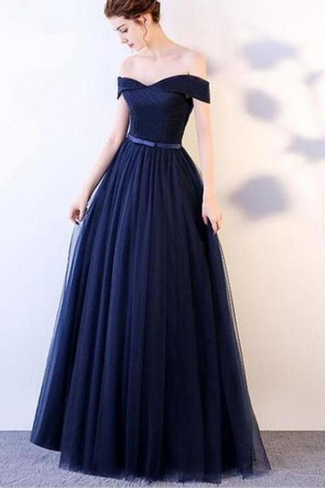 Navy Blue Tulle Sweetheart Long Prom Dress, Off Shoulder Party Dress, A-line Formal Dress