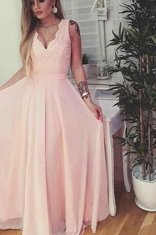 Light Pink Simple V-neckline Prom Dress, Prom Dress 2018, Lovely Formal Gowns