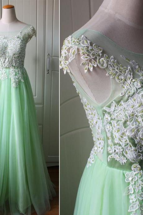 Green Tulle and Applique Long Prom Dress, Charming Tulle Gowns, Prom Dress