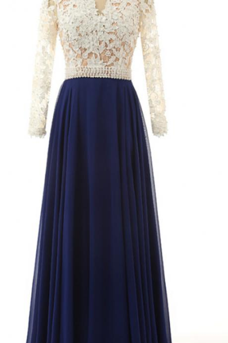 Blue Chiffon Long Sleeves Wedding Party Dresses, Women Formal Dress, Lovely Gowns