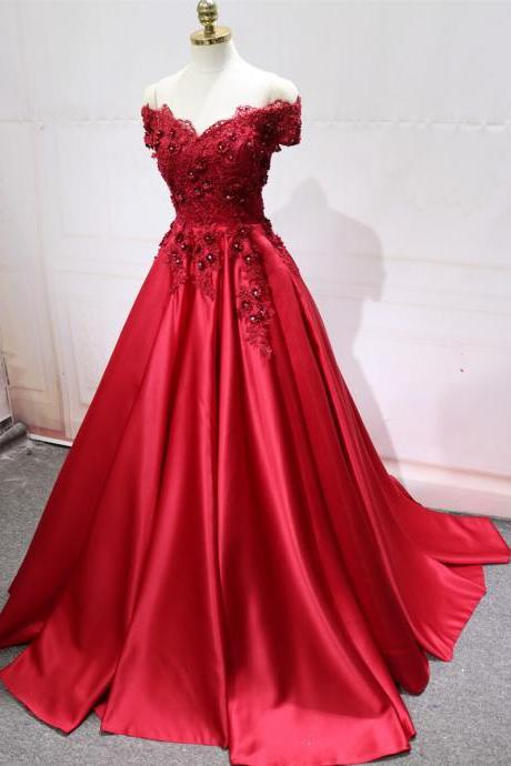 Gorgeous Red Satin with Applique Off Shoulder Long Party Dress, Red Formal Gowns, V-neckline Party Dress