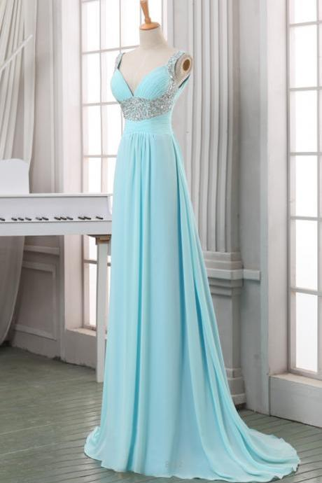 Light Blue Chiffon Sequins V-neckline Floor Gowns, Blue Prom Dresses, Party Dress 2018