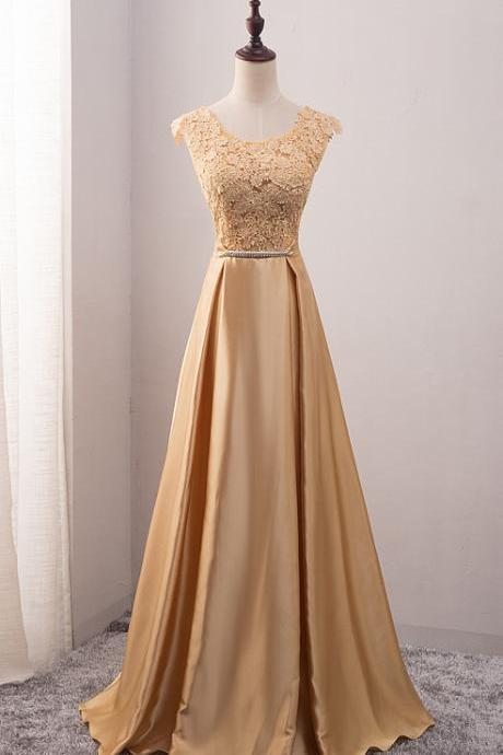 Gold Satin Long Lace Appliqués Cap Sleeves Scoop Neck Prom Dress, Formal Dress 2018