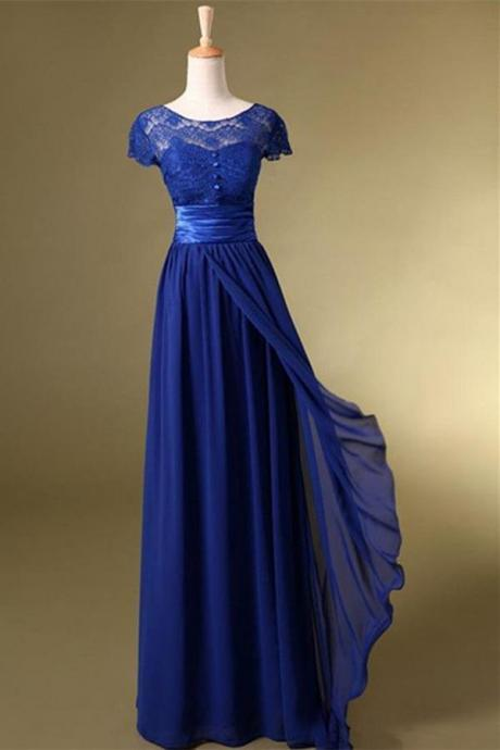 Blue Chiffon Wedding Party Dresses, Long Bridesmaid Dresses, Blue Evening Gowns