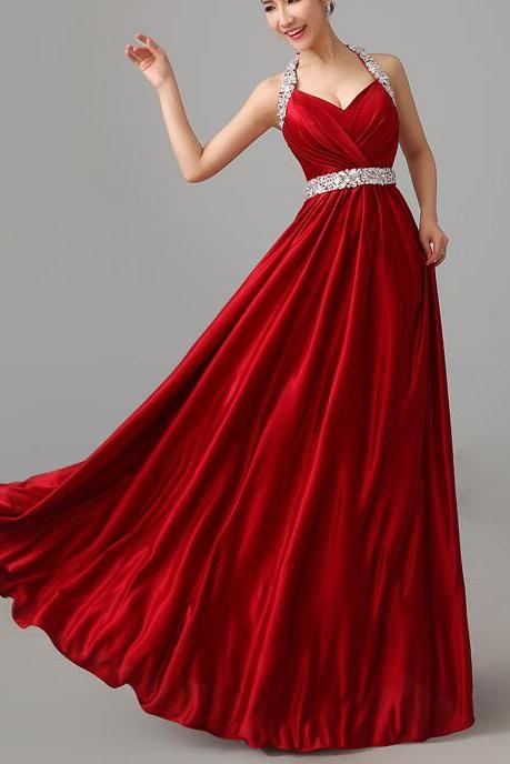 Red Satin Halter Beaded Long Party Dress, Formal Dresses, Red Party Gowns