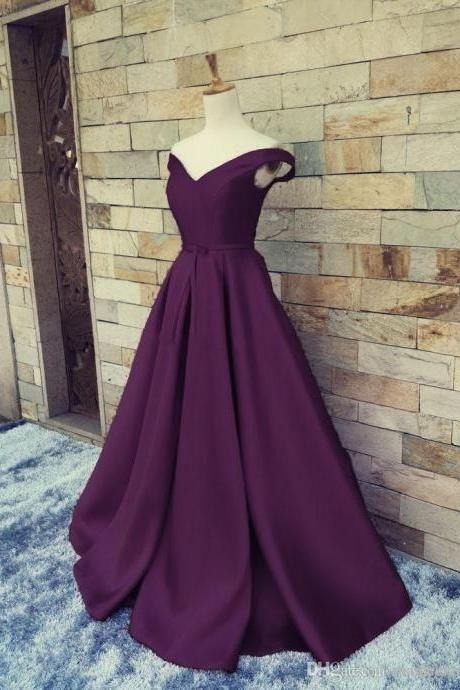 Dark Purple Satin Long Prom Dress, Prom Dress 2018, Formal Dresses 2018