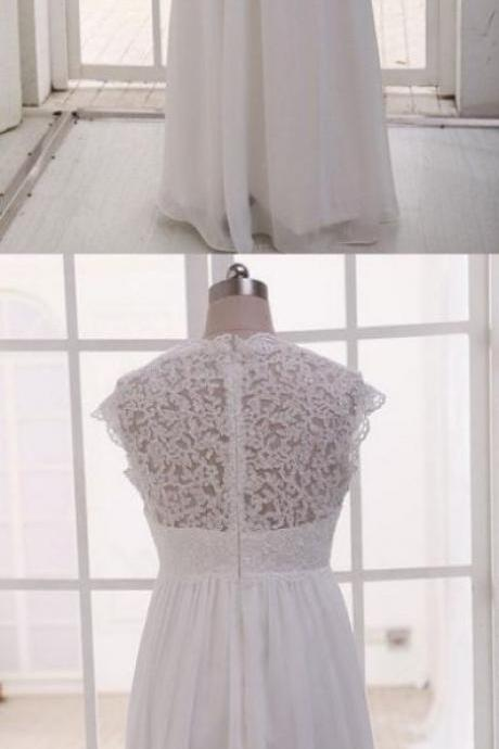 Charming Wedding Dresses, High Waist Lace Applique Formal Dress, Bridal Gowns